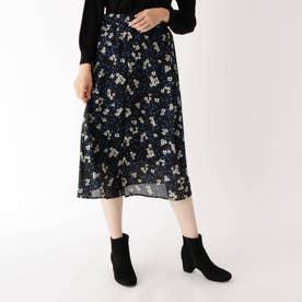 レトロフラワープリントスカート (ブラック)