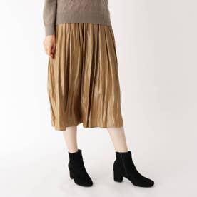 グロッシーサテンプリーツ風スカート (キャメル)