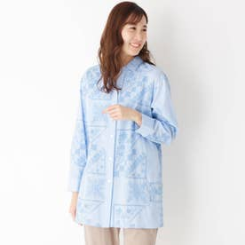 フレーム刺しゅうスキッパーシャツ (ライトブルー)