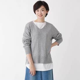 【2点セット】【洗える】【大人日常着】Vネックソフトニット&長袖Tシャツ2点セット (グレー)