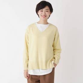 【2点セット】【洗える】【大人日常着】Vネックソフトニット&長袖Tシャツ2点セット (レモンイエロー)