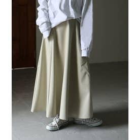 フェイクレザーロングフレアスカート 21SS エコレザー (ベージュ系)