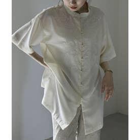 スタンドカラー刺繍チャイナブラウス (アイボリー)