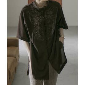 スタンドカラー刺繍チャイナブラウス (ブラウン)
