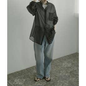 オーガンジースタンドカラーシアーシャツ (ブラック)