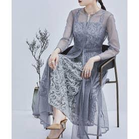 幾何学チュールジャガードワンピ レディース ドレス 21SS (ブルーグレー) (ブルー)