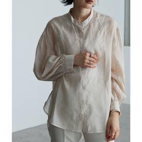 バンドカラーシアーシャツ デザインブラウス 2021SS (ベージュ)