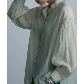 透け感を楽しむ バンドカラーシアーシャツ 2021SS (ライムグリーン)
