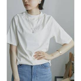 モックネックT 半袖 Tシャツ 無地 ハイネック (オフホワイト)