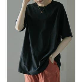モックネックT 半袖 Tシャツ 無地 ハイネック (ブラック)