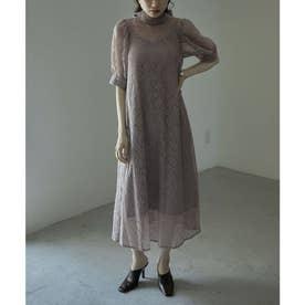 インナー付きバックリボンレースドレス (ダークラベンダー)
