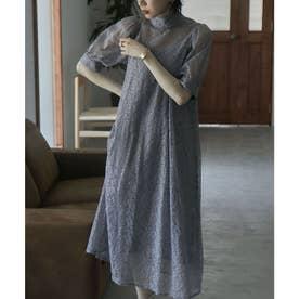 インナー付きバックリボンレースドレス (ブルーグレー)