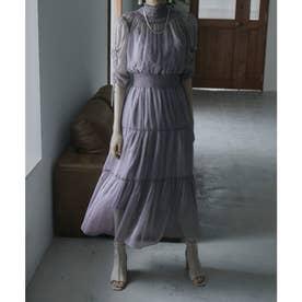 ハイネックティアードワンピースドレス (ブルーグレー)