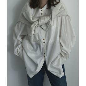 サテンバンドカラーシャツ (オフホワイト)
