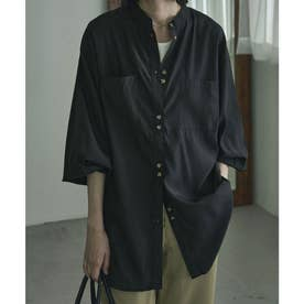 サテンバンドカラーシャツ (ブラック)