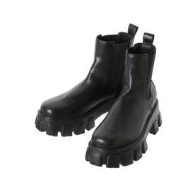シャークソールサイドゴアショートブーツ(ブラック)