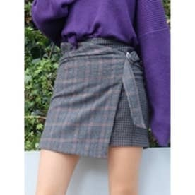 MIXチェックラップスカート グレー