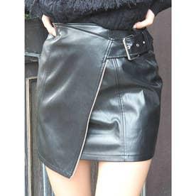 レザーライクラップミニスカート(ブラック)