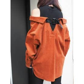 バックベルトレイヤードコーデュロイシャツ(オレンジ)