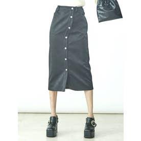 フェイクレザーアシメボタンスカート(ブラック)