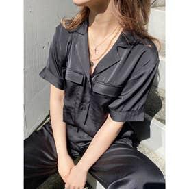 オープンカラーサテンシャツ【セットアップ着用可能】(ブラック)