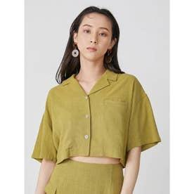 オープンカラークロップドシャツ【セットアップ着用可能】(グリーン)