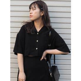 オープンカラークロップドシャツ【セットアップ着用可能】(ブラック)