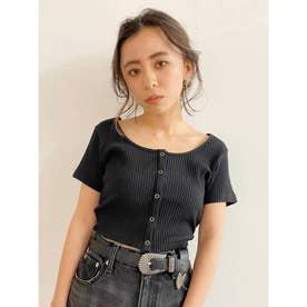 ドットボタンショートTシャツ(ブラック)