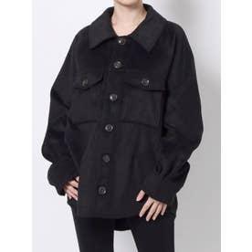 フェイクウールシャツ(ブラック)