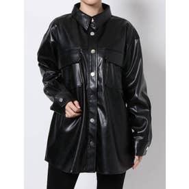 レザーライクシャツジャケット(ブラック)