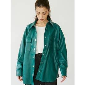 レザーライクシャツジャケット(グリーン)