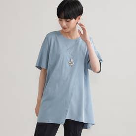 ◆◆【ウォッシャブル】【接触冷感】ブロッキングチュニックTシャツ (ブルー)