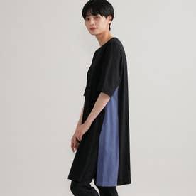 ◆◆【ウォッシャブル】バイカラースリットロングTシャツ (ブラック)