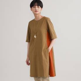 ◆◆【ウォッシャブル】バイカラースリットロングTシャツ (キャメル)