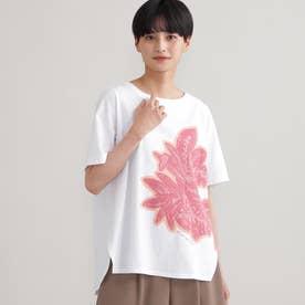 ◆◆【ウォッシャブル】ビッグボタニカルモチーフプリントTシャツ (オフホワイト)