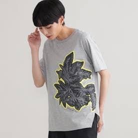 ◆◆【ウォッシャブル】ビッグボタニカルモチーフプリントTシャツ (グレー)