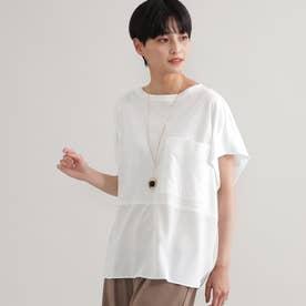 ◆◆【ウォッシャブル】【接触冷感】ブロッキングTシャツ (オフホワイト)