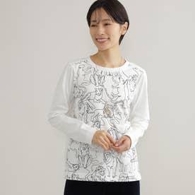 【ウォッシャブル】ライオンモチーフTシャツ (オフホワイト)
