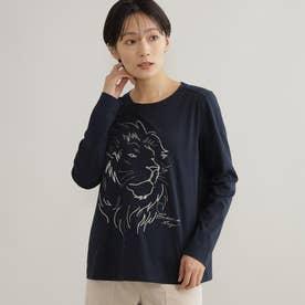 【ウォッシャブル】ライオンモチーフTシャツ (ネイビー)