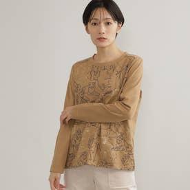 【ウォッシャブル】ライオンモチーフTシャツ (キャメル)