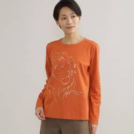 【ウォッシャブル】ライオンモチーフTシャツ (オレンジ)