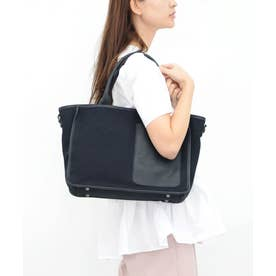 帆布×LEATHER BIG POCKET TOTE (ブラック)