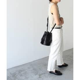 ゴートレザー巾着MINIショルダーバッグ (ブラック)