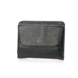 スリムレザー二つ折りミニ財布 (ブラック)