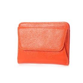 スリムレザー二つ折りミニ財布 (オレンジ)