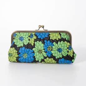 ピックスキンマルチフラワーがま口財布 (ブルーグリーン)