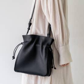 巾着レザーショルダー (ブラック)