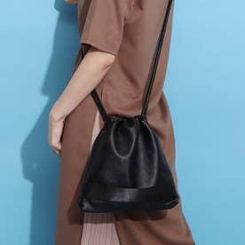 ポーチ付き巾着バッグ (ブラック×ブラック)