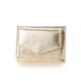 牛革三つ折りミニ財布 (ゴールド)