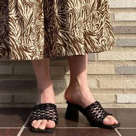 手編みスクエアヒールミュール(ブラック)